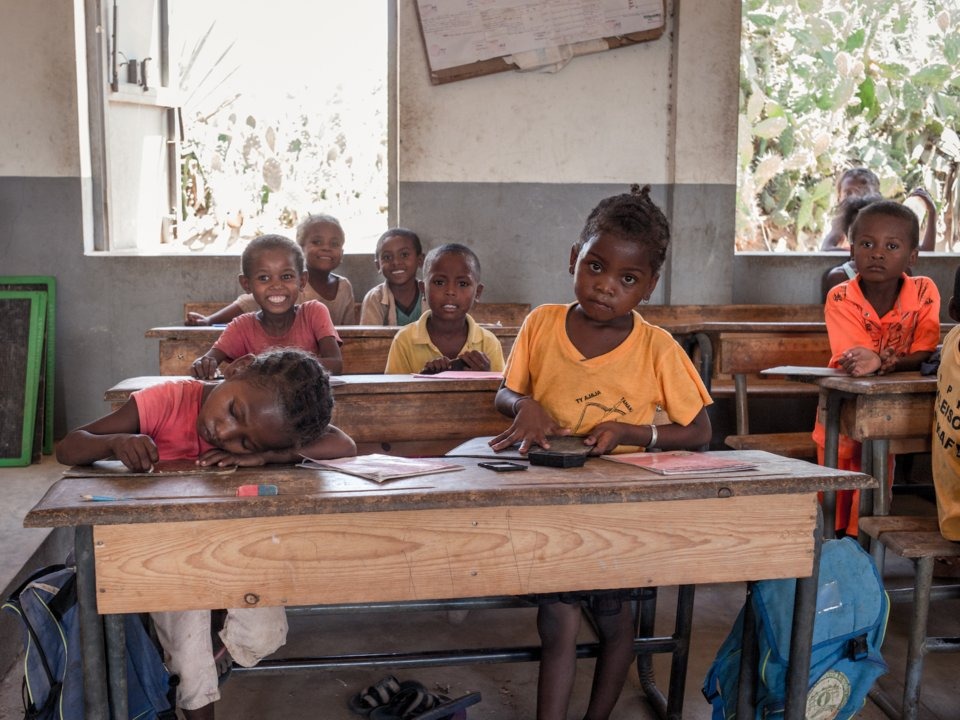 Schoolchildren in Madagascar attend a class after lunch, offered by the World Food Program's Undernutrition Prevention Program, in December. RIJASOLO/AFP/Getty Images